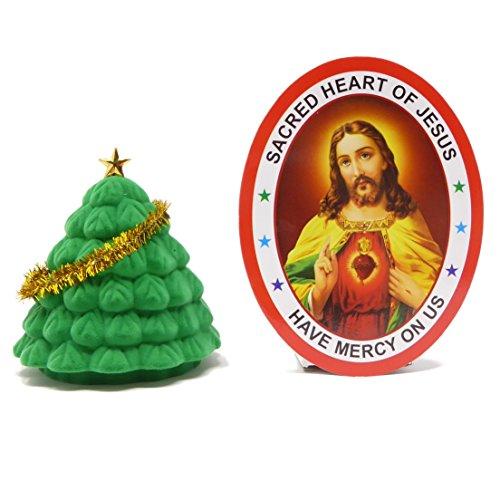 Rosary Heaven Tasche Zeichnen Herkunft Szene in Weihnachtsbaum Geschenkbox Klein 6cm Christian mit Sichtfenster Aufkleber