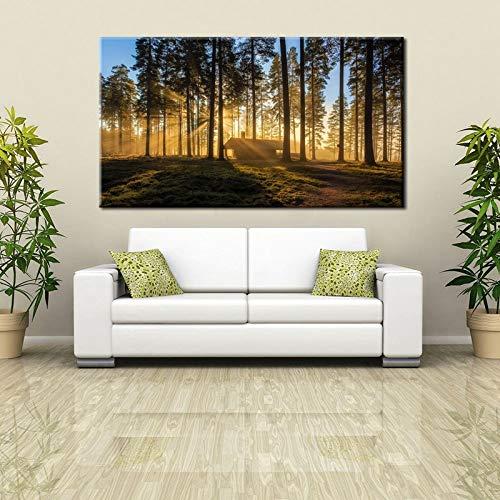 BuhuAZXM Hd gedrukt canvas schilderij muurkunst bos zonsopgang landschap poster voor woonkamer decoratie 30x45cm Geen frame.