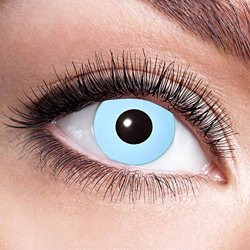 Alsino Farbige Kontaktlinsen Wochenlinsen 1 Paar Bunt Gruselig ohne Stärke für Mottopartys Halloween Fastnacht Karneval Fasching Kostüm Accessoire, (w13) Ice Blue
