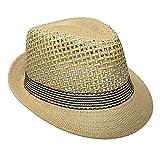 JK Home Panamá Fedora Sombrero de paja Deportes al aire libre Gangster Trilby Jazz Manhattan Cosplay Travel Holiday Cap, Hombre, 0807jk20033home, marrón, Talla única