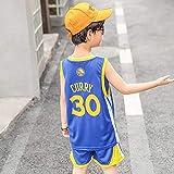 HGFDSA Conjunto De Camiseta De Baloncesto Infantil, Chaleco Sin Mangas para Niños, para Uniformes del Equipo De Niños De 4 a 12 Años, Tejido Transpirable Fresco,Warriors Blue no. 30,S
