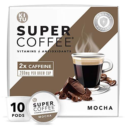 Kitu Super Coffee Pods, Energy & Immunity (2x Caffeine, Vitamins, Antioxidants) [Mocha] 10 Count   Keto Coffee Pods Compatible with Keurig 2.0 K-Cup Brewers