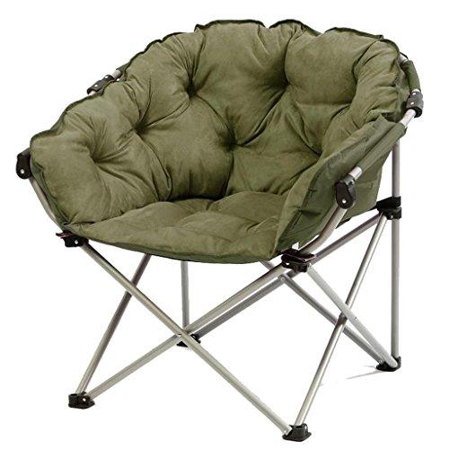 DS-chaise Moon Chair-Army Green Créatif Lazy Suede Tissu Pliant Soleil Chaises Single Recliners Canapé-Lit Chaises Rondes avec Dossier Soft Rembourré Chaise &&