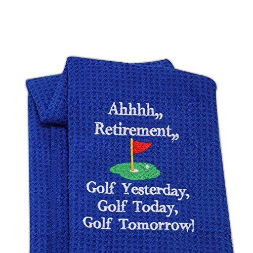 LEVLOAhhhh Retirement Golf Yesterday Golf Today Golf Tomorrow Embroidered Golf Towel with Clip Golf Gift for Men/Women (Ahhhh Retirement - 2)