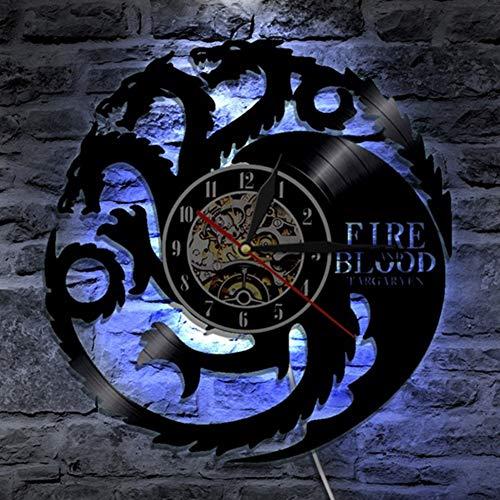 Cheemy Joint Game of Thrones Orologio da Parete LED in Vinile da 12 Pollici Luce Notturna Creativa a 7 Colori, Regalo di Compleanno per Regalo di Natale nostalgico al Coperto. (A4-4 with LED)
