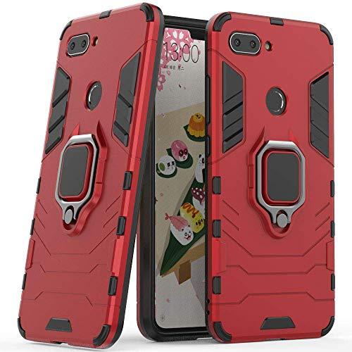 Compatible con Xiaomi Mi 8 Lite Funda, Anillo Metálico Sujeción Soporte Antichoque Rígido Caja (Funciona con el Montaje de Coche Magnético) Doble Capa Sólido Case Carcasa para Xiaomi Mi8 Lite (Rojo)