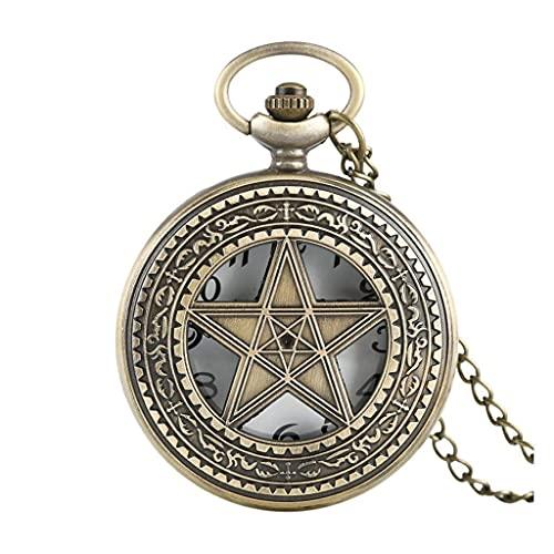 LHJCN B Five Stars Shape Reloj de Bolsillo de Cuarzo Half Hunter Vintage Colgante Regalos para Hombres Mujeres 80cm Collar Cadena