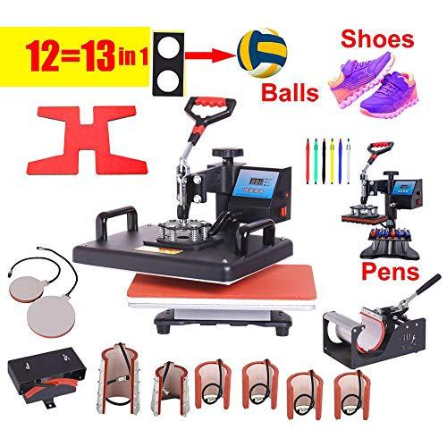 QWERTOUY 12 in 1 Warmtepers Printer Sublimatie warmteoverdracht Machine Warmtepers Machine voor T-shirts Platen/Cap/Mok/Telefoonhoes/pen/bal