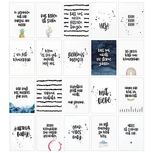 HEJ.CREATION Set mit 20 Postkarten � Grußkarten mit Sprüchen und Zitaten zum Thema Freundschaft und Leben � Postkartenset als Geschenk für Freunde Freundin Lebensliebe