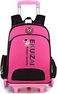 GLJJQMY Travel Bag Backpack Trolley Bag Student Men and Women Travel Bag Climbing Ladder Waterproof Decompression Backpack Trolley Backpack (Color : Rose red, Size : 40x16x32cm)