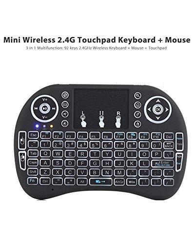 Mini-Tastatur-Maus, Backlit Tastatur Touchpad-Maus, i8 2.4GHz RF Wireless Keyboard, eingebaute wiederaufladbare Batterie, für Android TV Box/PC/Laptop und mehr,Schwarz