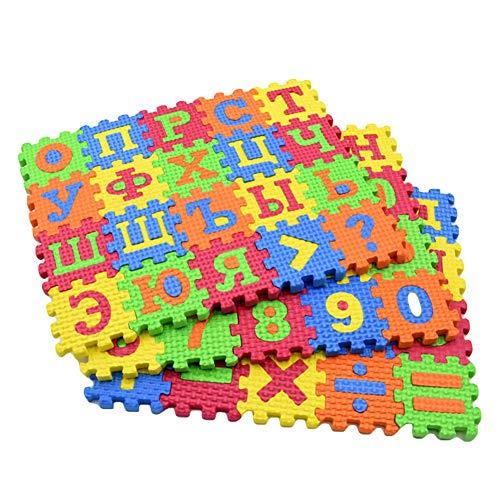 dontdo Lot de 60 mini tapis de sol en mousse puzzle Jouets éducatifs alphabet russe Tapis éducatif pour bébé enfants Tapis d
