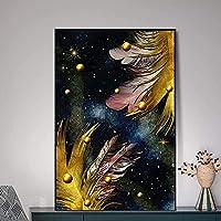QDEI 北欧の抽象的なカラフルな羽とゴールデンパールリッチツリーキャンバス絵画壁の写真リビングルームの家の装飾アートワーク/ 70x100cmフレームなし