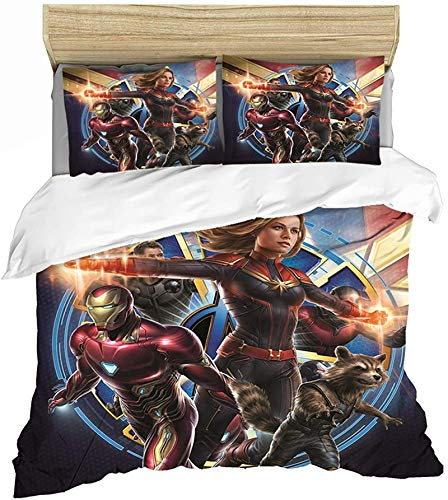 QWAS Avengers Marvel Series Bed Linen 3D Printed Duvet Cover with Iron Man Head Pattern (V01,135x200cm+80x80cmx2)