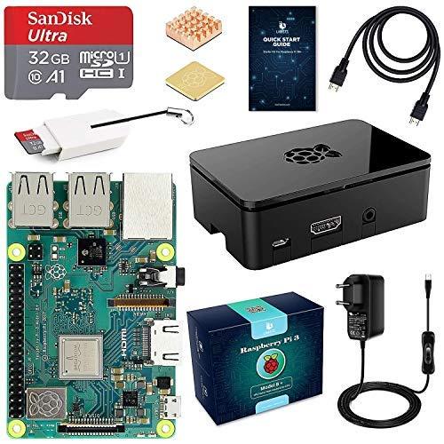 LABISTS Raspberry pi 3b + Starter Kit con Micro SD de 32GB Clase 10, 5V 3A Tipo C con Interruptor, 2 Radiadores, Cable HDMI,...