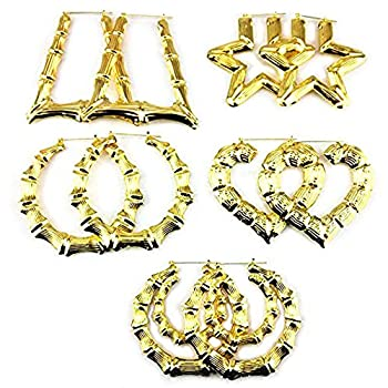 Honbay 5 Pairs Boho Style Different Shape Big Bamboo Hoop Earrings  Gold