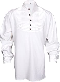 My Gothic Shop Renaissance Casual Summer Pirate Hippie Shirt Medieval Men Costume Off-White & Black Color All Sizes