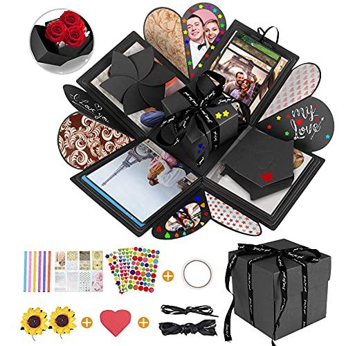 DASIAUTOEM Explosion Box, Caja de Regalo Amor Memoria Creative DIY Álbum de Fotos de Scrapbooking Hecho a Mano Sorpresa Explosión Caja de Regalo para Cumpleaños Aniversario Graduación Regalo de Boda