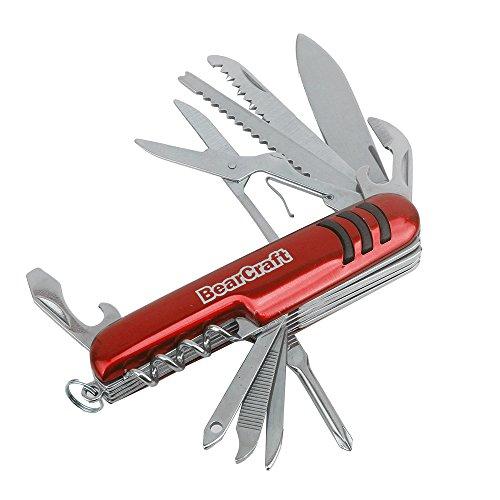 BearCraft Taschenmesser Multifunktions Klappmesser mit 12 Funktionen (rot)