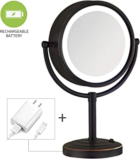 NiceVue 8-Inch LED Lighted Mirror for Table with 10X Magnification, Double-Sided Tabletop Makeup Mirror with Rechargeable Battery, Oil Rubbed Bronze (8.5in,10X)