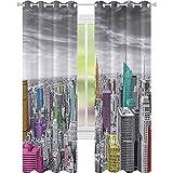 Cortinas opacas de Nueva York, imagen panorámica del horizonte de la ciudad de Nueva York, 52 x 108, cortinas opacas modernas para dormitorio, gris rosa y azul merigold