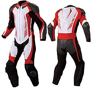 Motorcycle New Red/White One piece Track Racing Suit CE Approved Protection (XXL)