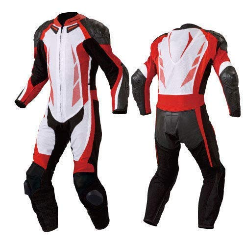 Motorcycle New Red/White One piece Track Racing Suit CE Approved Protection (4XL)