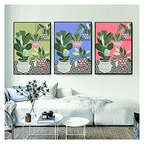 Plantas tropicales en la pintura de impresión de piso de azulejos Resumen de la pared de la pared Imprimir imagen Minimalismo para la sala de estar en la pared Decoración de la casa 20x28x3 inch Sin M