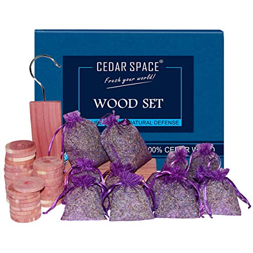 Cedar Blocks for Clothes Storage 50 Sets 100% Nature Aromatic Red Ceder Blocks and Lavender Sachets