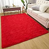 Amearea Premium Soft Fluffy Rug Modern Shag Carpet, High Pile, Solid Color Plush Rugs for Bedroom Dorm Room Teen Apartment Decor, Comfortable Indoor Furry Carpets, Red 3x5 Feet