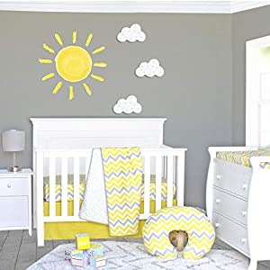 Pam Grace Creations 3 Piece Sunshine Yellow and Gray Chevron Crib Bedding Set