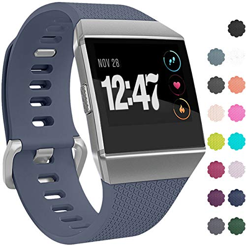 Wepro Bands Compatible with Fitbit Ionic SmartWatch, Watch Replacement Sport Strap for Women Men Kids, Buckle, Small, Blue Gray
