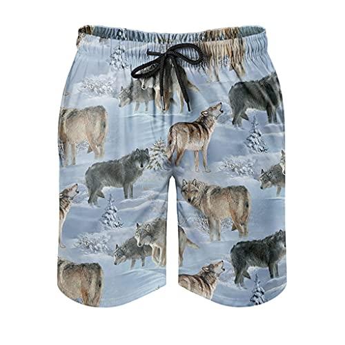 Dessionop Pantalones cortos de playa para hombre con diseño de lobo y bosque de nieve, con forro interior, color blanco, talla XXL