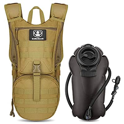Tactical Hydration Pack Water Backpack with 3L Bladder, Barbarians Lightweight Military Molle Backpack Tan
