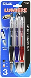 professional BAZIC Lumiere Asst. With handle Color retractable oil gel pen with handle (3 packs) (1778)