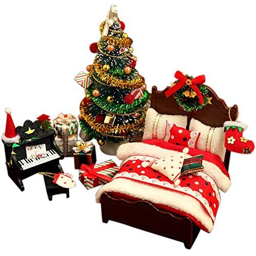 Jannyshop-123 Kit de Modelo de casa de muñecas en Miniatura de Madera con Muebles DIY Muebles de Navidad Precioso Modelo Hecho a Mano para Navidad Regalo de cumpleaños Decoración del hogar