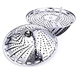 Adianna Steamer Basket Vegetable Steamer Stainless Steel Basket Handle Folding Seafood Fish Dim Sum Veggie Steamed Egg Cooking Expandable Fit Various Pot Vegetable Steamer Tray Size 5.5 to 9.4 inch