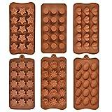 Silikonform für Schokolade, Antihaftbeschichtung, BPA-frei, 6 verschiedene Formen