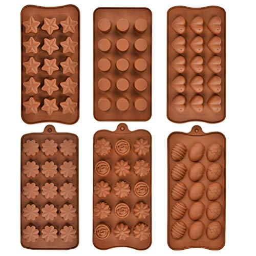 OFNMY Silikonform für Schokolade, Lebensmittelqualität, Antihaftbeschichtung, BPA-frei, für Süßigkeiten, Proteine und Energie 6 verschiedene Formen