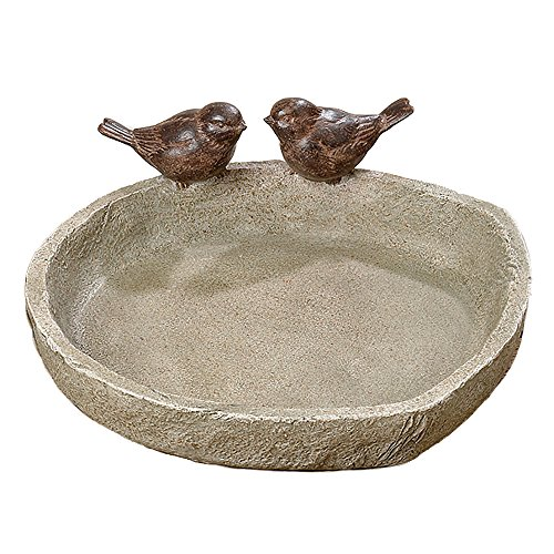 WHW Whole House Worlds Bird Bath with 2 Sparrows, Beige Stone Finished Basin and Brown, All Weather Poly Resin, 8.25 inches Diameter (21cm)