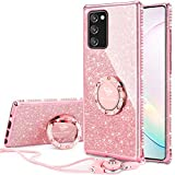 OCYCLONE for Galaxy Note 20 Case, Cute Sparkle Glitter Bling Diamond Rhinestone Bumper with Ring Kickstand, Women Girls Pink Soft Phone Case for Samsung Galaxy Note 20 5G 6.7 inch 2020 - Rose Gold