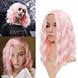 FAELBATY Cosplay Pink Wigs Curly Wavy Synthetic women's Wig Pure Pastel Wig for Girl Costume Halloween Wigs (14' Light Pink Wig)