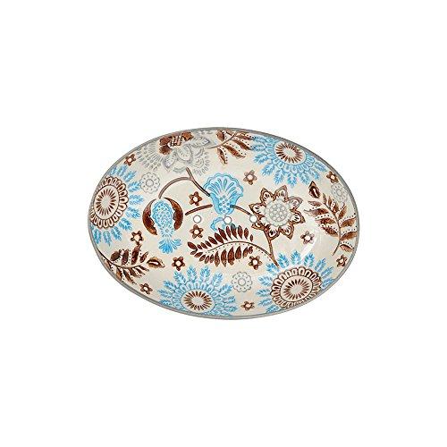 Tranquillo Seifenschale Floral, oval aus Keramik mit Löchern für den Wasserablauf 14 x 9,5 x 2 cm