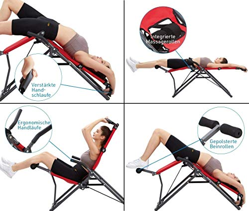 Mediashop BackLounge   Inversions-Rücken-Trainer   Inversionsbank   Streckung der Wirbelsäule   bis zu 110 kg dynamisch, 250 kg statisch belastbar   integrierte Massagerollen   zusammenklappbar - 3