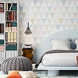 Minimalista moderno Papel pintado Rombo geométrico moderno medio ambiente non-woven Papel tapiz Decoración del hogar Pegatina de pared Para el dormitorio de los niños-A 53x1000cm(21x394inch)