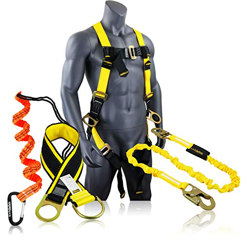 KwikSafety (Charlotte, NC) GIBBON GRIP KIT 3' Safety Anchor Cross Arm Strap Safety Lanyard Safety Harness and 10 lb Tool Lanyard ANSI Fall Arrest System OSHA Protection Harness Lanyard