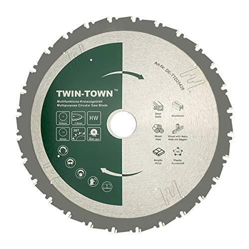 TWIN-TOWN HM Kreissägeblatt Multifunktions 254x30mm Z28, Ideal für Holz, Holz mit Nägeln, Stahl, Aluminium, Acryl, Kunststoff, Laminat und MDF zum Sägen mit Gehrungssäge und Tischkreissäge