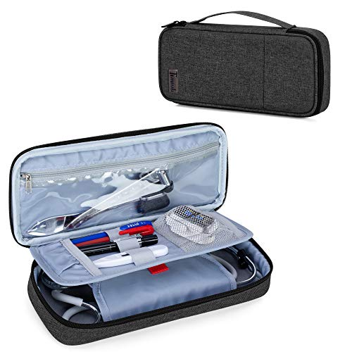 Trunab Stethoscope Case with Inner Divider, Stethoscope Carrying Case Compatible with 3M Littmann/MDF/ADC and Extra Accessories for Nurses, Pediatric Doctor or Medical Students, Black