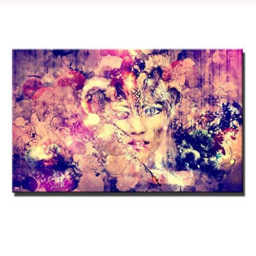 kldfig Muurkunst mooi meisjesgezichtsschilderij gedrukt op canvas abstracte schilderij voordelige schilderijen voor de woonkamer - 50 x 75 cm niet ingelijst