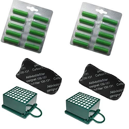 Profumini al Pino + Filtro Carboni Attivi + Filtro Microfiltrante Igienico Hepa per Vorwer Folletto vk130 - vk131 - Garanzia 24 Mesi SG group (20 Profumini + 2 Filtro Carboni + 2 Filtro Hepa)